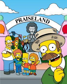 Die Simpsons - Zur Erinnerung an Maude lässt Ned (r.) einen Park aufbauen, un...