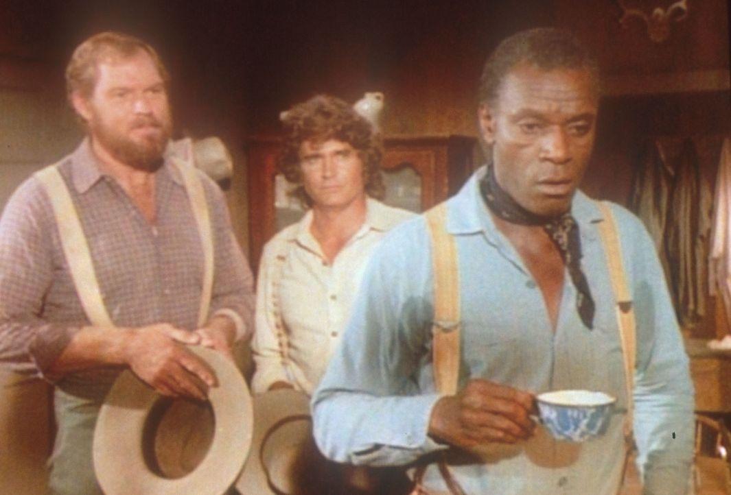 Jonathan (Merlin Olsen, l.) und Charles (Michael Landon, M.) überbringen Joe (Moses Gunn, r.) eine frohe Nachricht. - Bildquelle: Worldvision