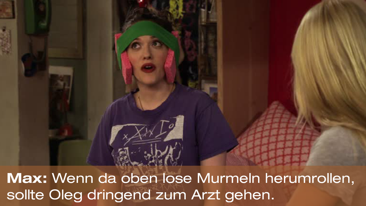 2-Broke-Girls-Zitat-Quote-Staffel2-Episode20-Das-Loch-in-der-Decke-Max-Murmeln-Warner - Bildquelle: Warner Bros. Television
