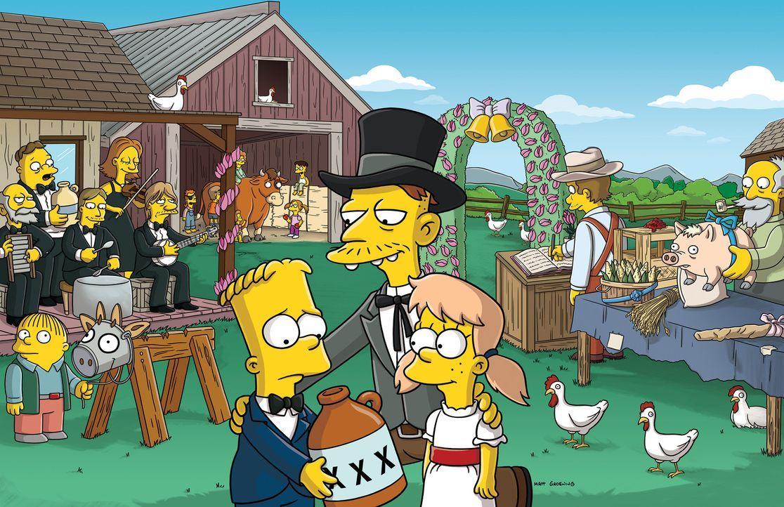 Als Bart (l.) den jungen Bullen Lou vom Schlachter retten möchte, ahnt er nicht, dass er bald mit Mary (r.) verlobt ist ... - Bildquelle: und TM Twentieth Century Fox Film Corporation - Alle Rechte vorbehalten