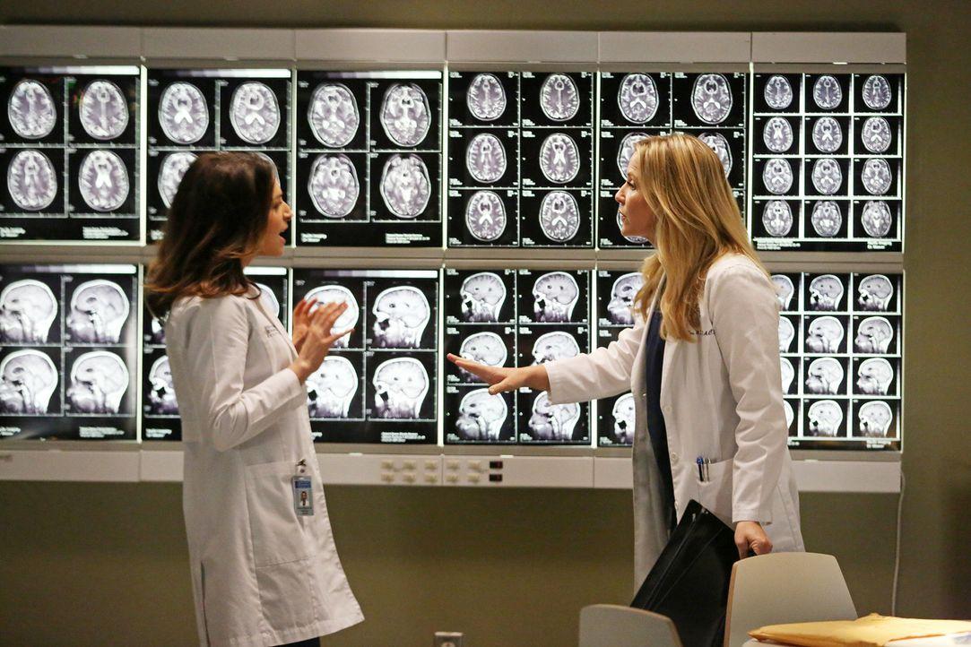 Arizona (Jessica, Capshaw, r.) kann die Tumor-Aufnahmen von Dr. Herman vor Amelia (Caterina Scorsone, l.) nicht geheim halten. Diese ist fasziniert,... - Bildquelle: ABC Studios