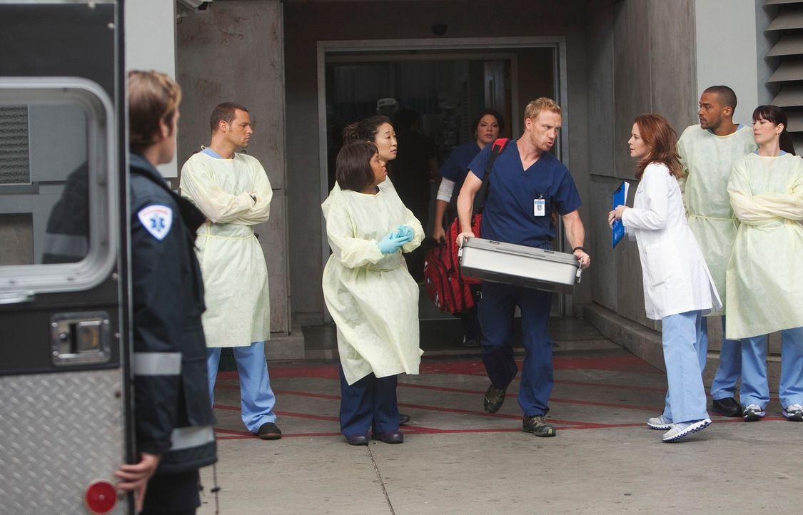 Als sich in Seattle ein Erdloch auftut, müssen Alex (Justin Chambers, 2.v.l.), Bailey (Chandra Wilson, 3.v.l.), Cristina (Sandra Oh, 4.v.l.), Callie... - Bildquelle: ABC Studios