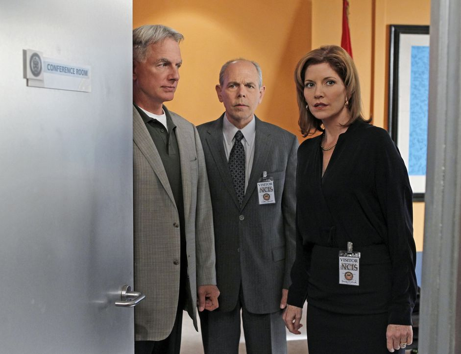 Diane Sterling (Melinda McGraw, r.), Ex-Frau von Gibbs (Mark Harmon, l.) und Fornell (Joe Spano, M.), und mittlerweile verheiratet mit Victor Sterli... - Bildquelle: CBS Television