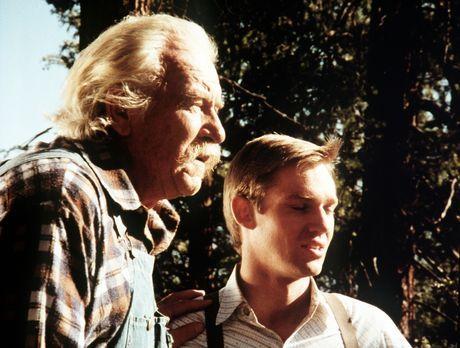 Die Waltons - John-Boy (Richard Thomas, r.) erzählt seinem Großvater Sam (Wil...
