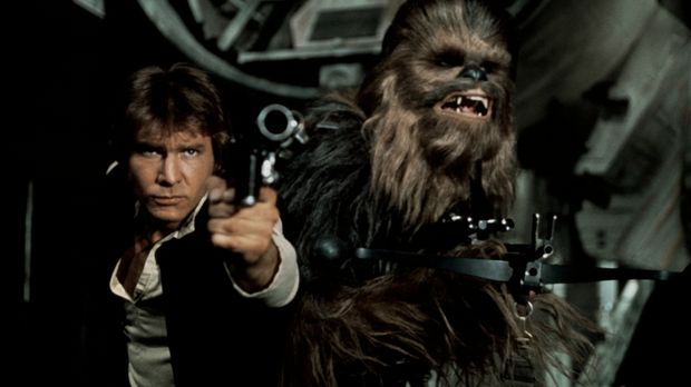 Der Pilot Han Solo (Harrison Ford, l.) und sein Co-Pilot Chewbacca (Peter May...