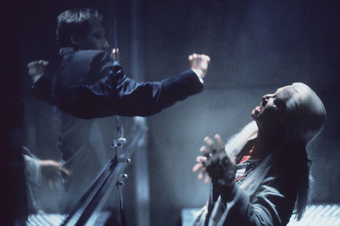 Mulder(David Duchovny, l.) hat sich von der Indianerin Lana Chee (Julia Vera, r.) provozieren lassen, in deren Körper das Bewusstsein eines Air-Forc... - Bildquelle: TM +   2000 Twentieth Century Fox Film Corporation. All Rights Reserved.