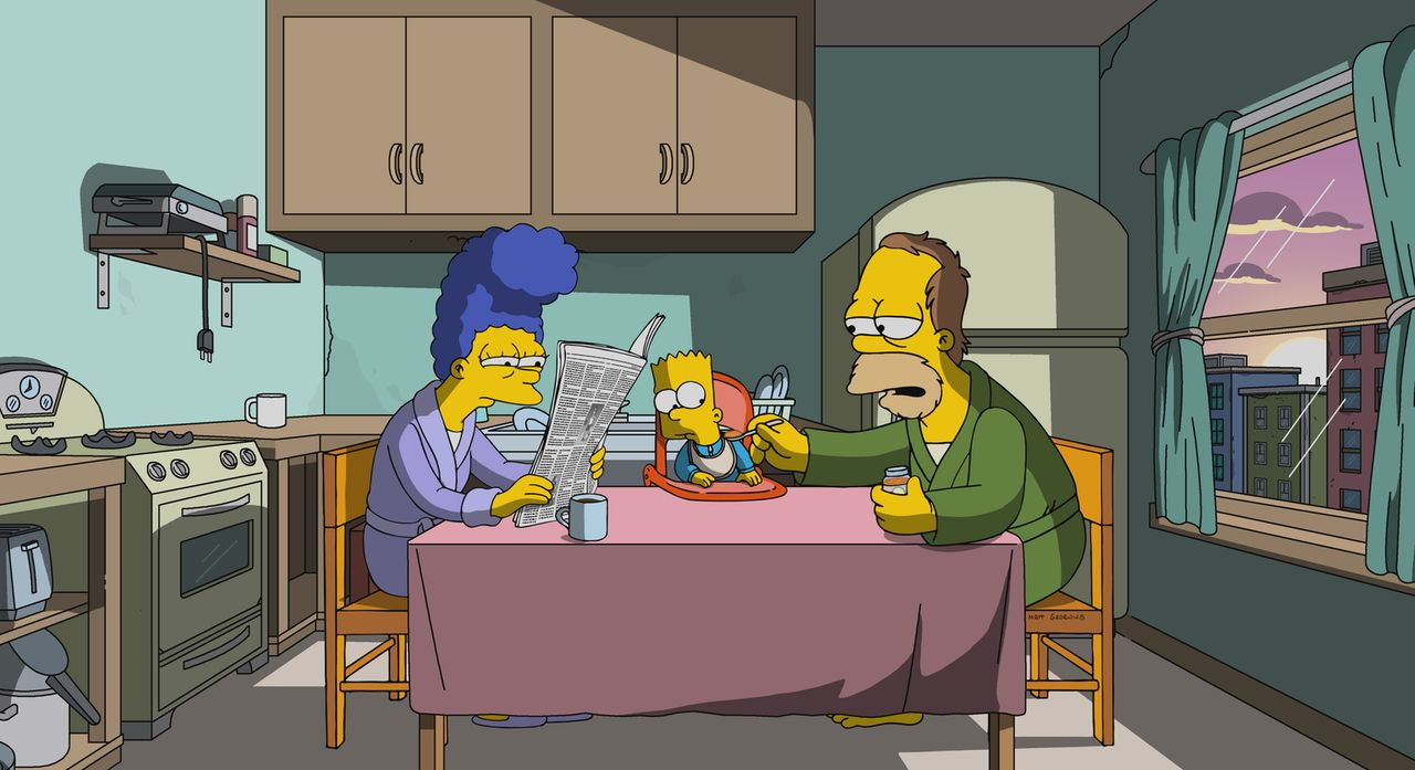 Marge (l.) und Homer (r.) erinnern sich mit Wehmut an ihre Zeit ohne Kinder und die riesigen Veränderungen, die Barts (M.) Geburt mit sich gebracht... - Bildquelle: 2017-2018 Fox and its related entities.  All rights reserved.