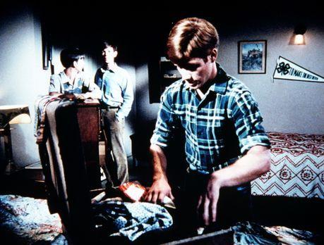 Die Waltons - Traurig sehen Jim-Bob (David W. Harper, hinten l.) und Jason (J...