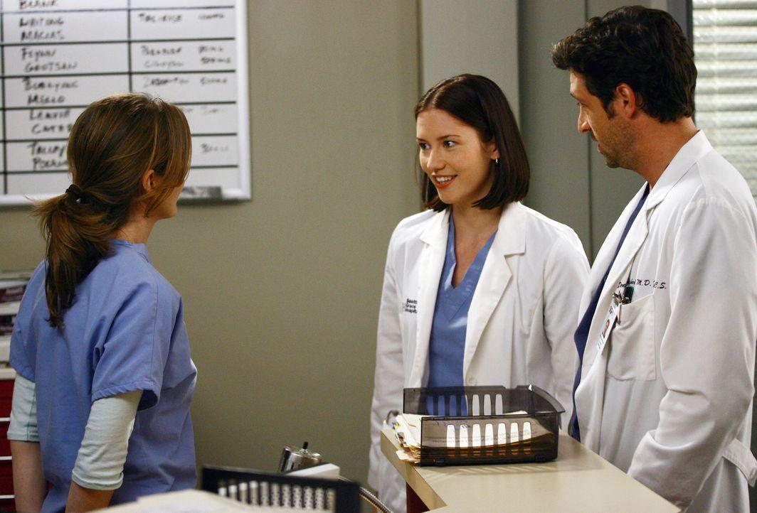 Derek (Patrick Dempsey, r.) erkennt in Lexie (Chyler Leigh, M.) die Frau aus der Bar wieder, worüber Meredith (Ellen Pompeo, l.) alles andere als g... - Bildquelle: Touchstone Television