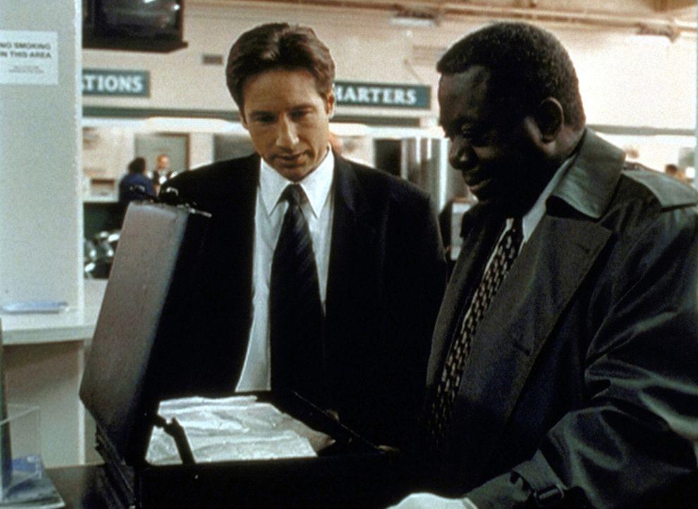 Für Detektive Pennock (Blu Mankuma, r.) ist das in einem Schließfach gefundene Rauschgift der letzte Beweis. Mulder (David Duchovny, l.) ist da eher... - Bildquelle: TM +   2000 Twentieth Century Fox Film Corporation. All Rights Reserved.