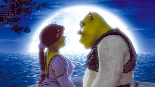 Die Jungvermählten Shrek, l. und Fiona, r. ahnen noch nicht, dass der Besuch...