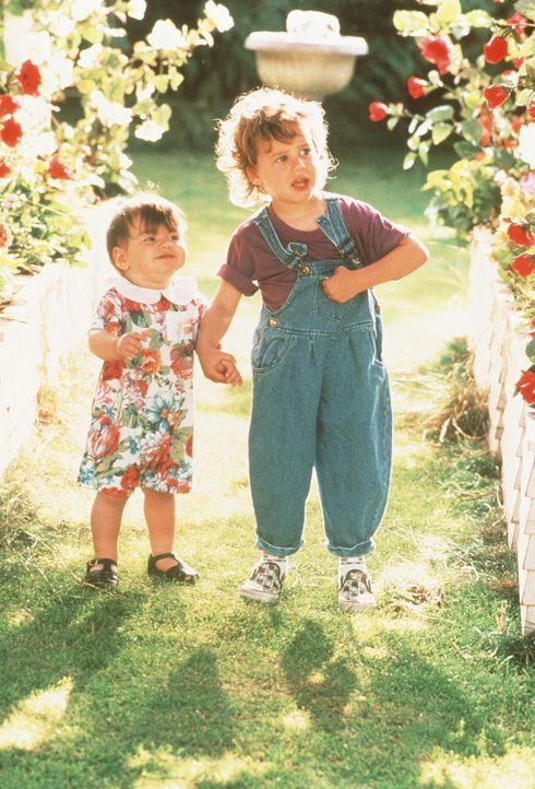 Mikey (Lorne Sussman, r.) und seine kleine Schwester Julie (Megan Milner, l.) tun sich zusammen, um das Familienglück zu retten. - Bildquelle: TriStar Pictures