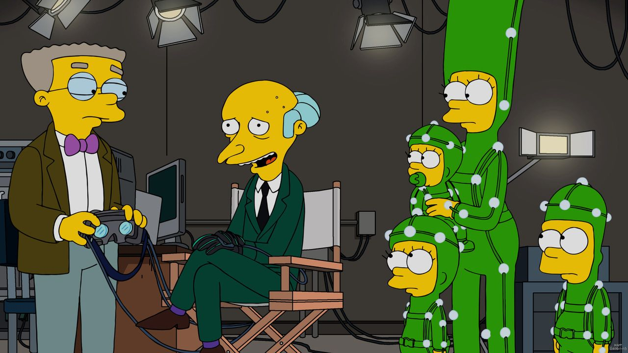 Um eine virtuelle Version seiner Familie nachzustellen, heuert Mr. Burns (2.v.l.) Lisa (3.v.l.), Maggie (3.v.r.), Marge (2.v.r.) und Bart (r.) an, d... - Bildquelle: 2016-2017 Fox and its related entities. All rights reserved.