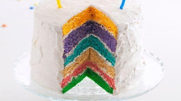 Backrezept: Happy Birthday mit einer Regenbogentorte sagen