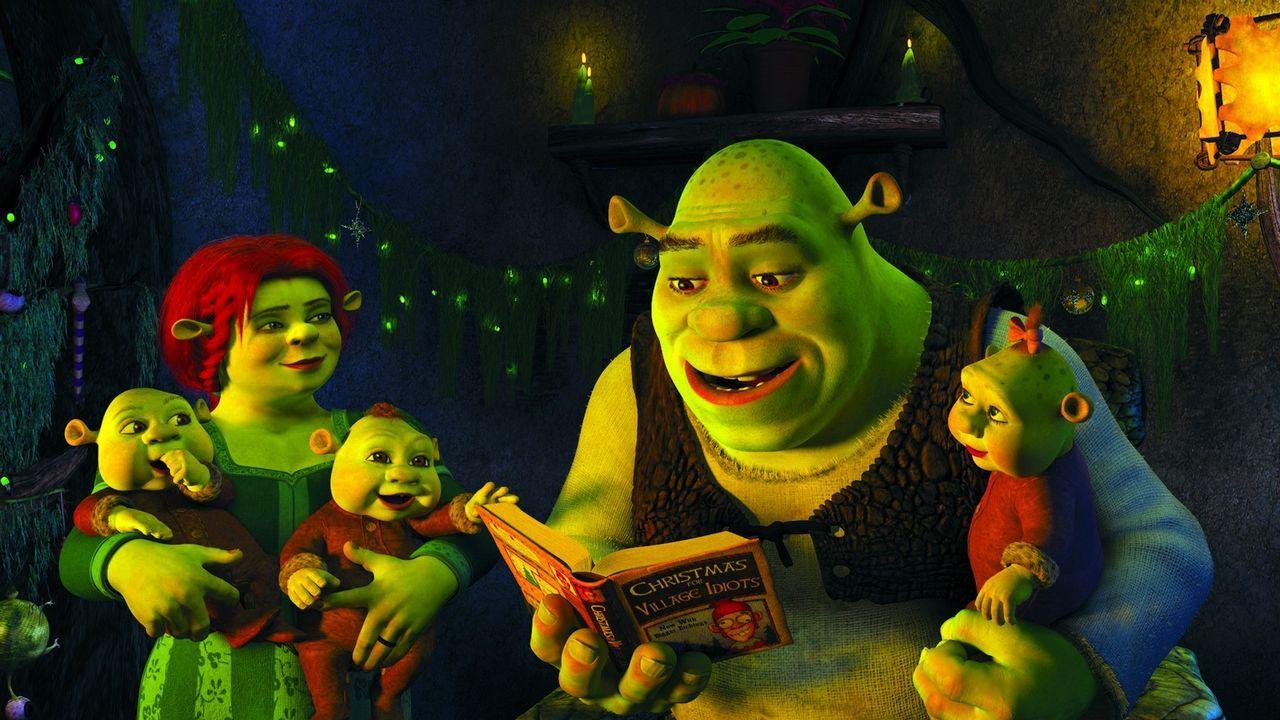 Endlich ist es soweit. Geschafft, aber glücklich bereitet Shrek seiner Familie ein unvergessliches Weihnachtsfest ... - Bildquelle: 2007   DreamWorks Animation LLC. All rights reserved.