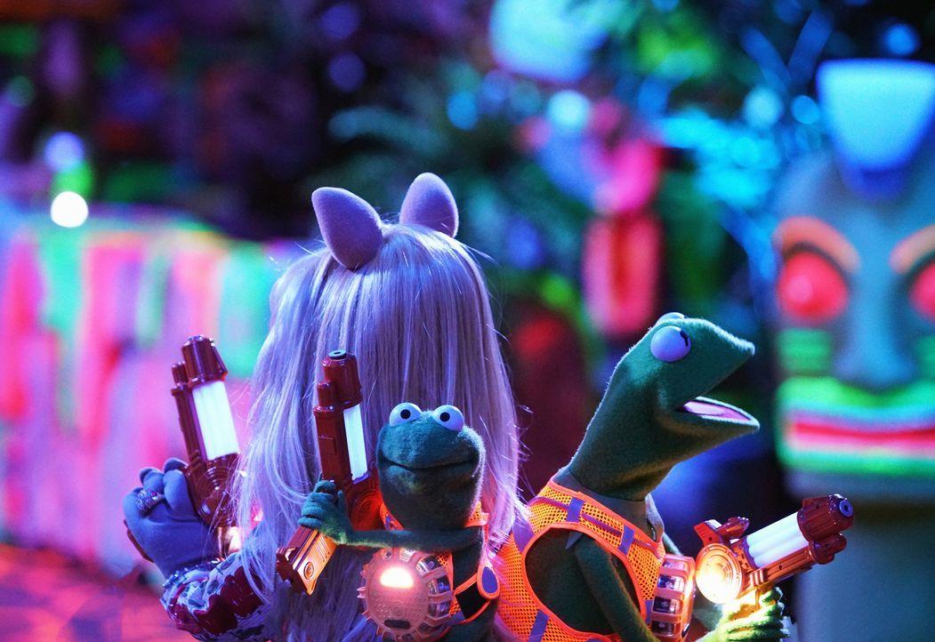 Kermit (r.) bittet Miss Piggy (l.) während des Besuchs von Robin (M.) so zu tun, als ob sie noch ein Paar wären. Die Eltern von seinem Neffen lassen... - Bildquelle: Andrea McCallin ABC Studios
