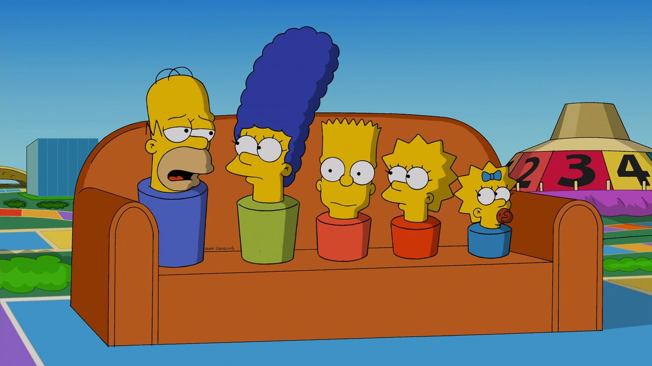 Die Simpsons als Figuren in einem Spiel: (v.l.n.r.) Homer, Marge, Bart, Lisa und Maggie ... - Bildquelle: 2013 Twentieth Century Fox Film Corporation. All rights reserved.