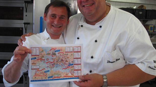 Riesenkuchen mit Achterbahn - Die Tortentuner im Einsatz: Frank Steidl (l.) u...