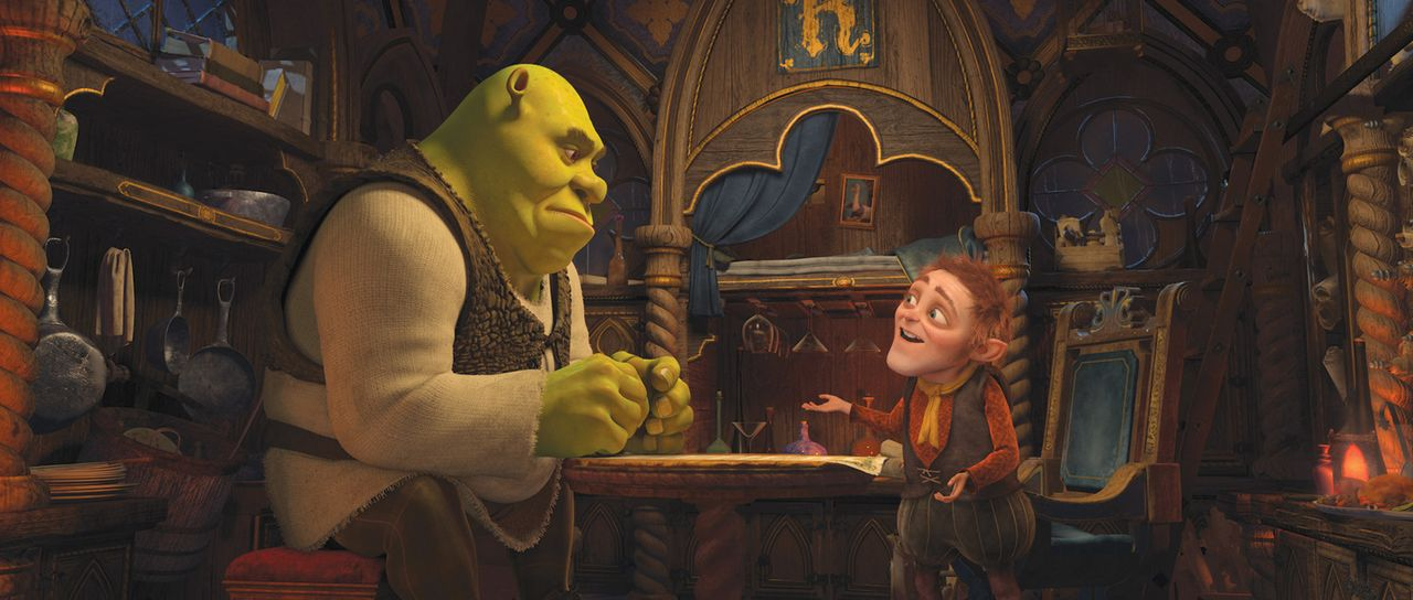 Das Rumpelstilzchen (r.) nutzt die Unzufriedenheit von Shrek (l.), um ihn in eine Falle zu locken ... - Bildquelle: 2012 DreamWorks Animation LLC. All Rights Reserved.