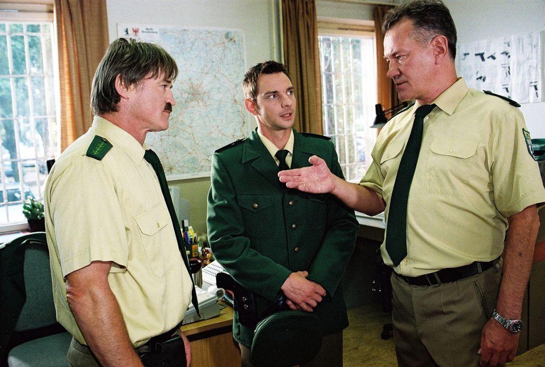 Peter Henke (Manfred Lehmann, r.) stellt den neuen Polizeiobermeister Tom (Steven Merting, M.) seinem Kollegen Gero Belitzki (Hartmut Schreiber, l.)... - Bildquelle: Claudius Pflug Sat.1