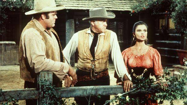 Das Zigeunermädchen Tirza (Susan Harrison, r.) eröffnet Ben (Lorne Greene, M....