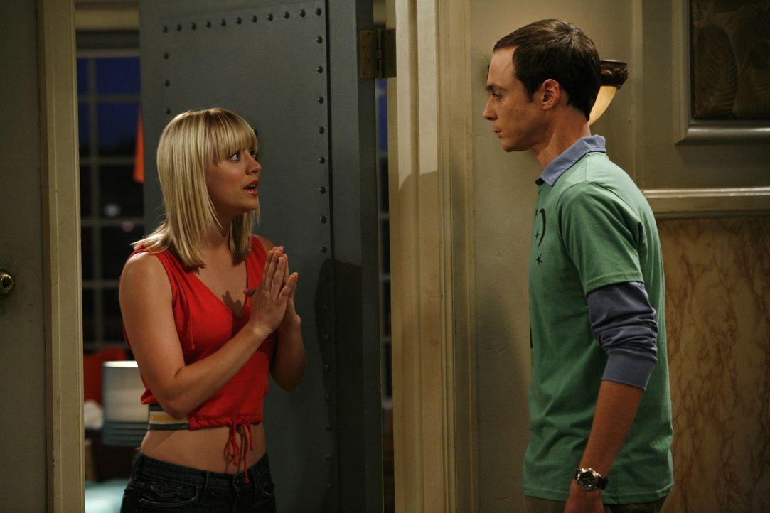 Erstmals essen Leonard und Sheldon (Jim Parsons, r.) sowie Howard und Raj in dem Restaurant, in dem Penny (Kaley Cuoco, l.) als Kellnerin arbeitet.... - Bildquelle: Warner Bros. Television