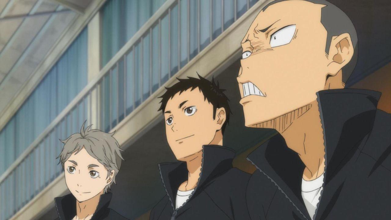 """Koshi Sugawara (l.); Daichi Sawamura (M:); Ryunosuke Tanaka (r.) - Bildquelle: H.Furudate / Shueisha,""""Haikyu!!?Project,MBS"""