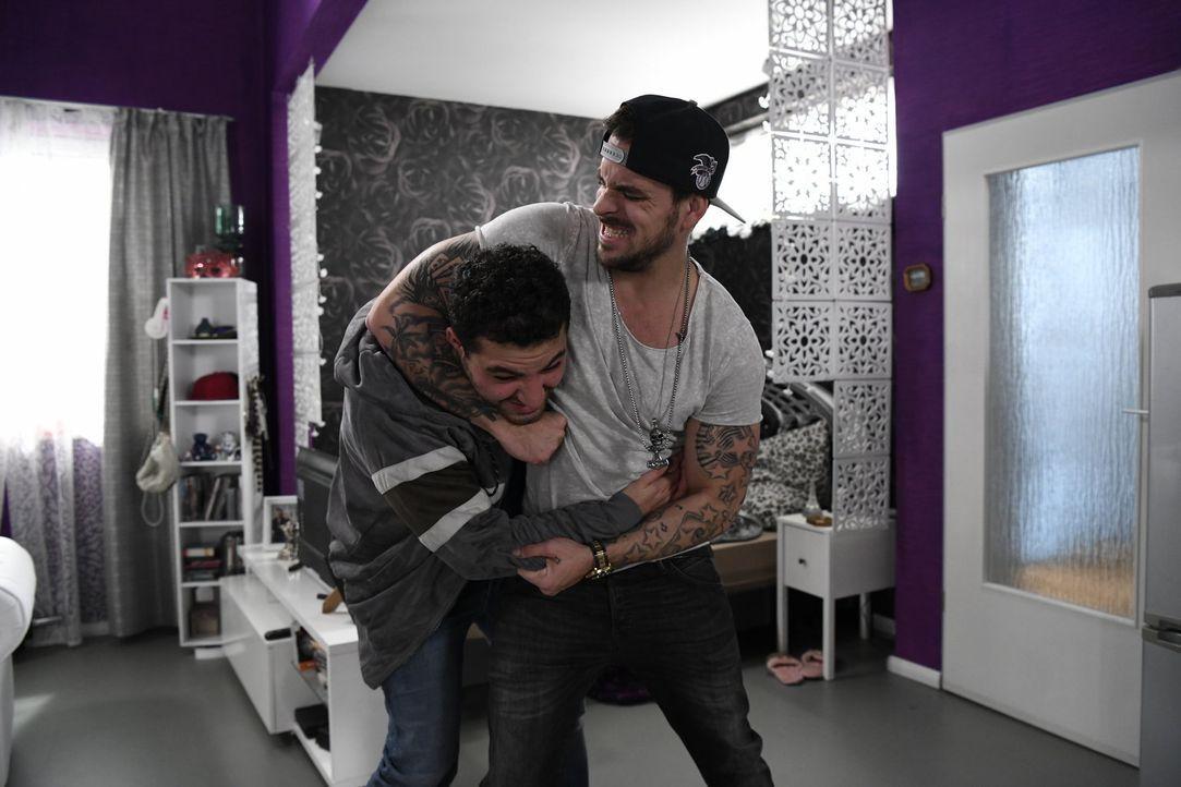 Rocko (Marc Barthel, r.) und Birol (Walid Al-Atiyat, l.) geraten wegen des gestohlenen Geldes in einen heftigen Streit ... - Bildquelle: Christoph Assmann SAT.1/Christoph Assmann