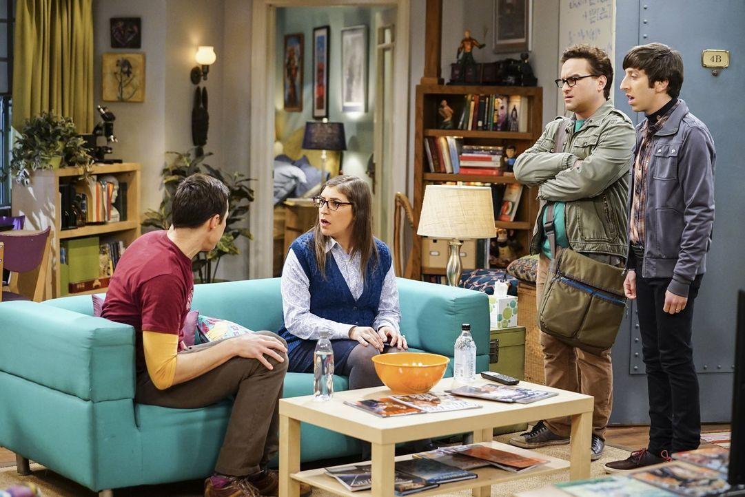 Wie wird Amy (Mayim Bialik, 2.v.l.) reagieren, als sie erfährt, dass sich Sheldon (Jim Parsons, l.) hinter dem Rücken seiner Freunde Leonard (Johnny... - Bildquelle: Warner Bros. Television