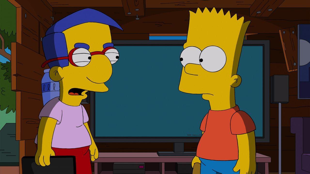 Als Milhouse (l.) erfährt, dass Bart (r.) etwas für den Kriminellen Snake tun will und ihm geholfen hat, vor der Polizei zu flüchten, trifft er eine... - Bildquelle: 2013 Twentieth Century Fox Film Corporation. All rights reserved.