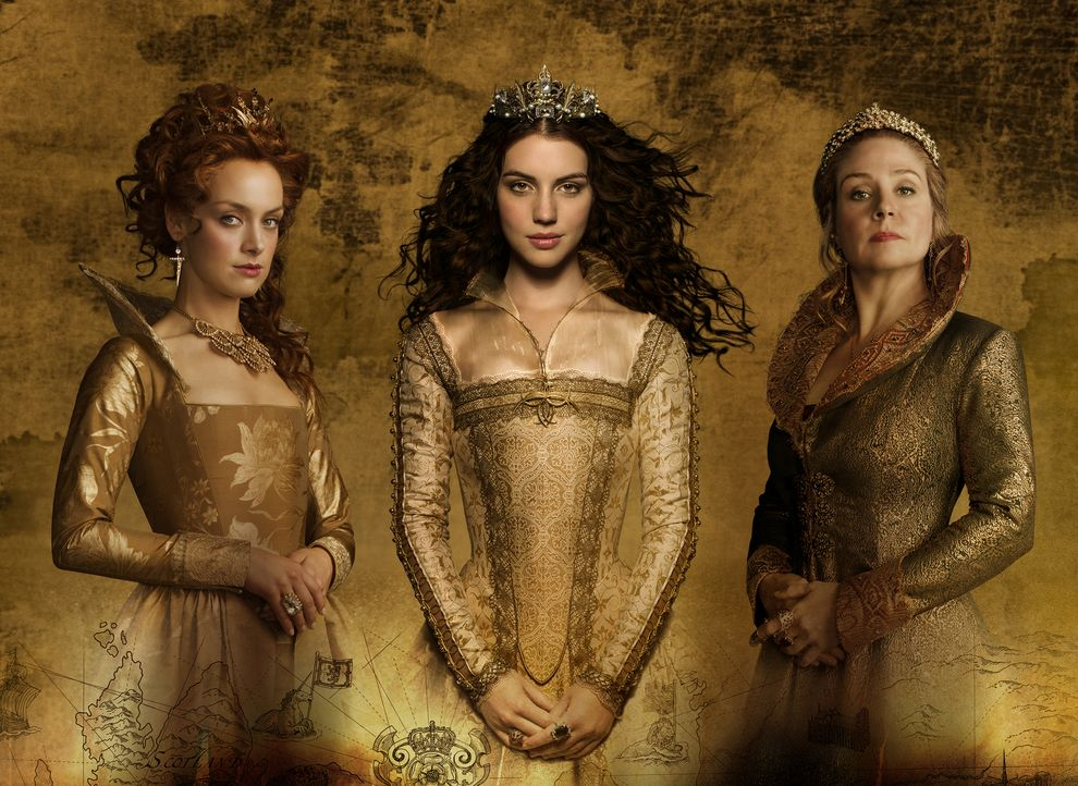 (4. Staffel) - Der Machtkampf zwischen Königin Mary Stuart (Adelaide Kane, M.), Königin Elizabeth (Rachel Skarsten, l.) und Königin-Mutter Catherine... - Bildquelle: 2016 The CW Network, LLC. All rights reserved.
