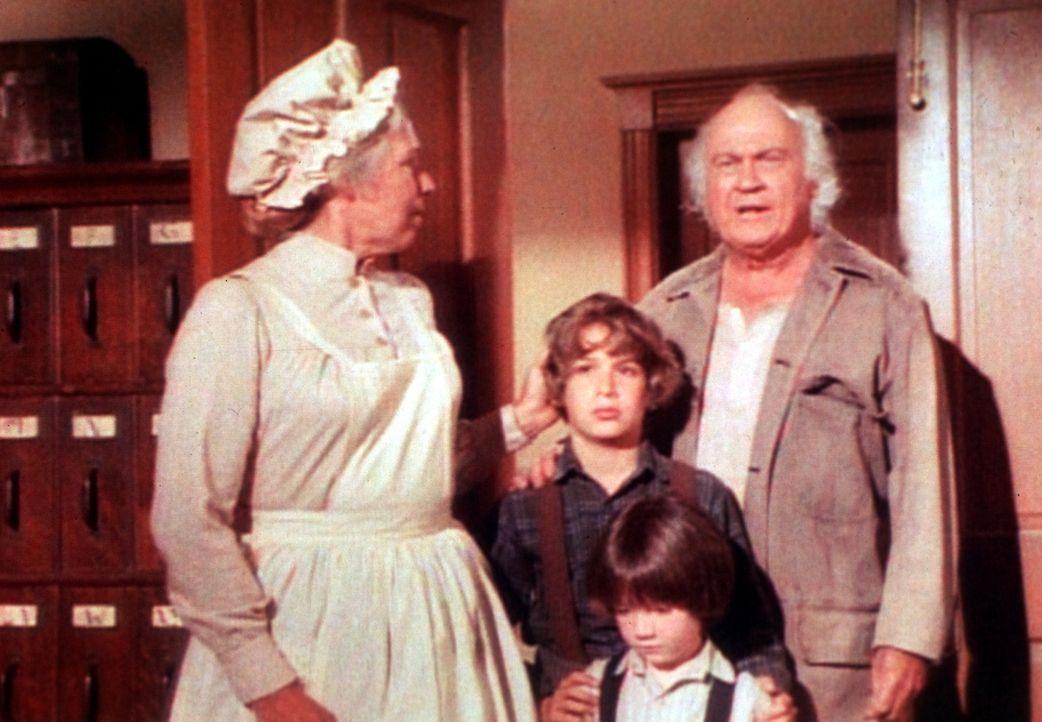 Die Waisenhausmutter, Miss Mason (Elizabeth Hoffman, l.), ist sehr froh, dass Michael (David Hollander, M.) und sein Bruder Josh (David Faustino) wi... - Bildquelle: Worldvision