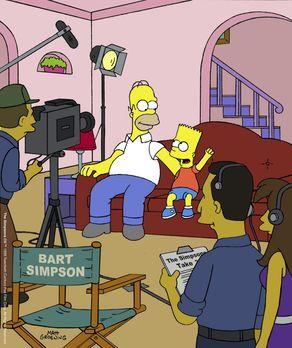 Die Simpsons - Homer (hinten l.) und Bart (hinten r.) als Hauptdarsteller in...