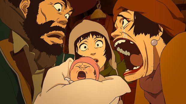 Die drei Obdachlosen Hanna (r.), Gin (l.) und Miyuki (M.) finden am Weihnacht...