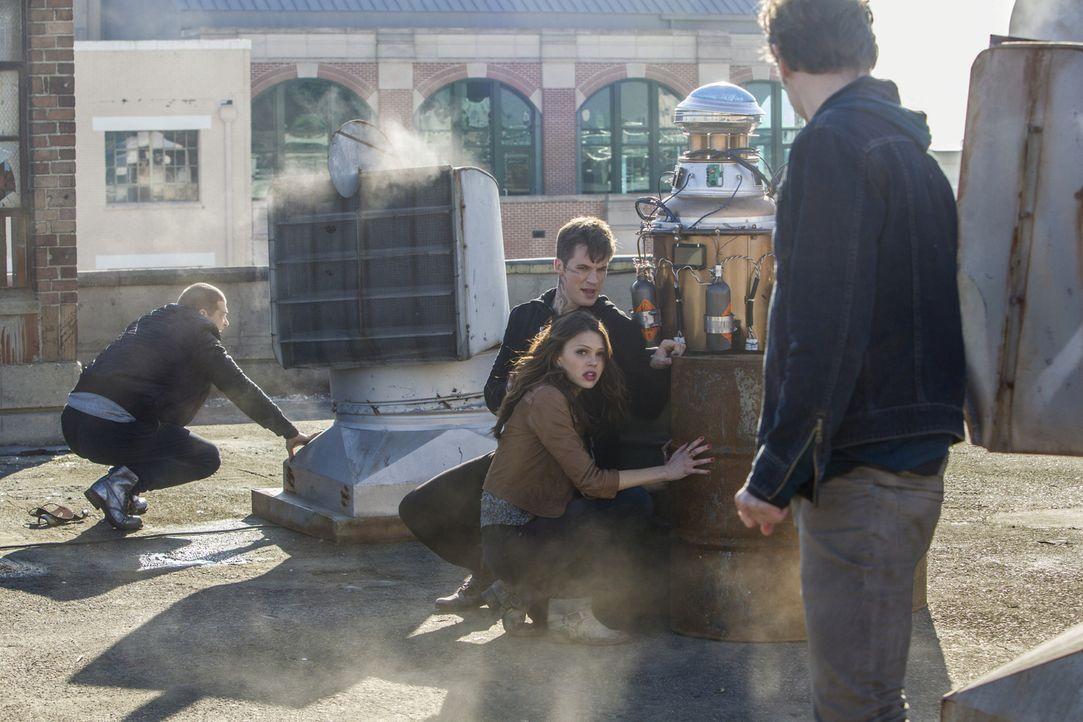 Wird es Drake (Greg Finley, l.), Roman (Matt Lanter, hinten 2.v.l.), Emery (Aimée Teegarden, vorne 2.v.r.) und Grayson (Grey Damon, r.) gelingen, di... - Bildquelle: 2014 The CW Network, LLC. All rights reserved.