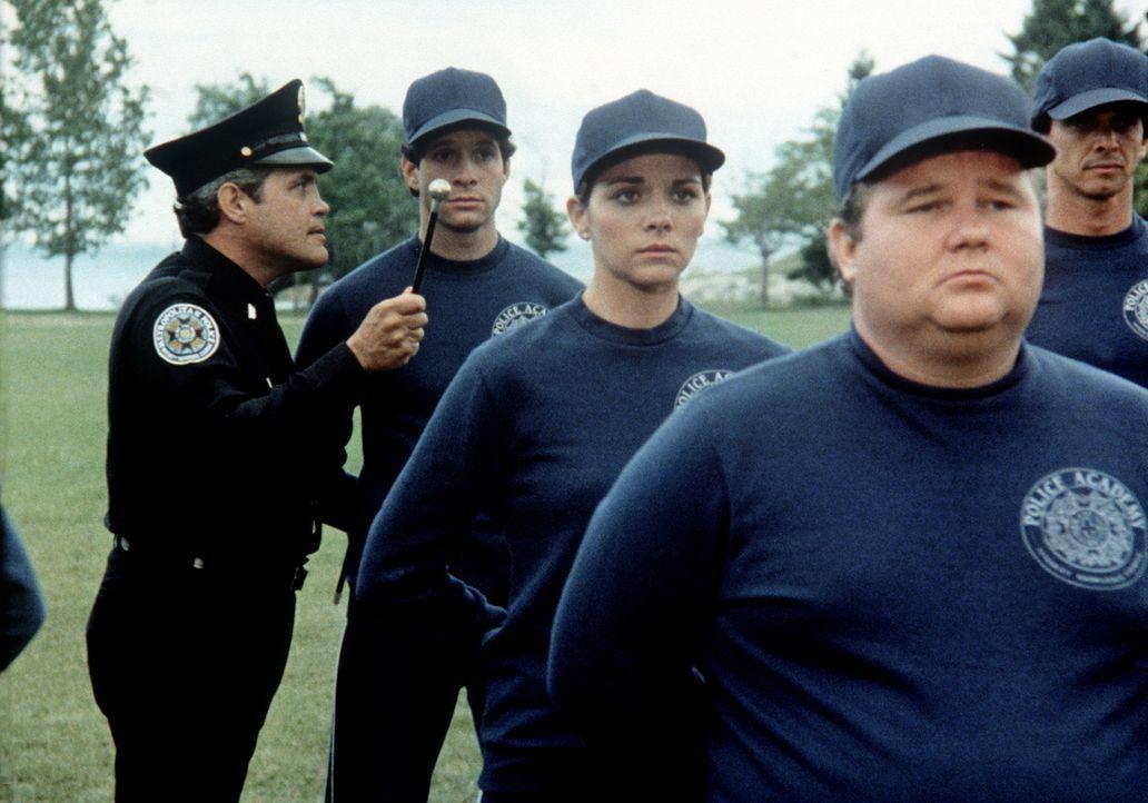 Lt. Harris (G. W. Bailey, l.) versucht, die Neuankömmlinge Carey Mahoney (Steve Guttenberg, hinten), Karen Thompson (Kim Cattrall, M.) und Leslie Ba... - Bildquelle: Warner Bros.