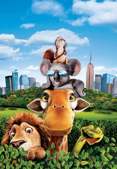 Eichhörnchen Benny (oben), Koala Nigel (2.v. oben), Giraffe Bridget (M.), Löwe Samson (l.) und Anakonda Larry (r.) gehen auf eine tierisch wilde Rei... - Bildquelle: Disney Enterprises, Inc.  All rights reserved