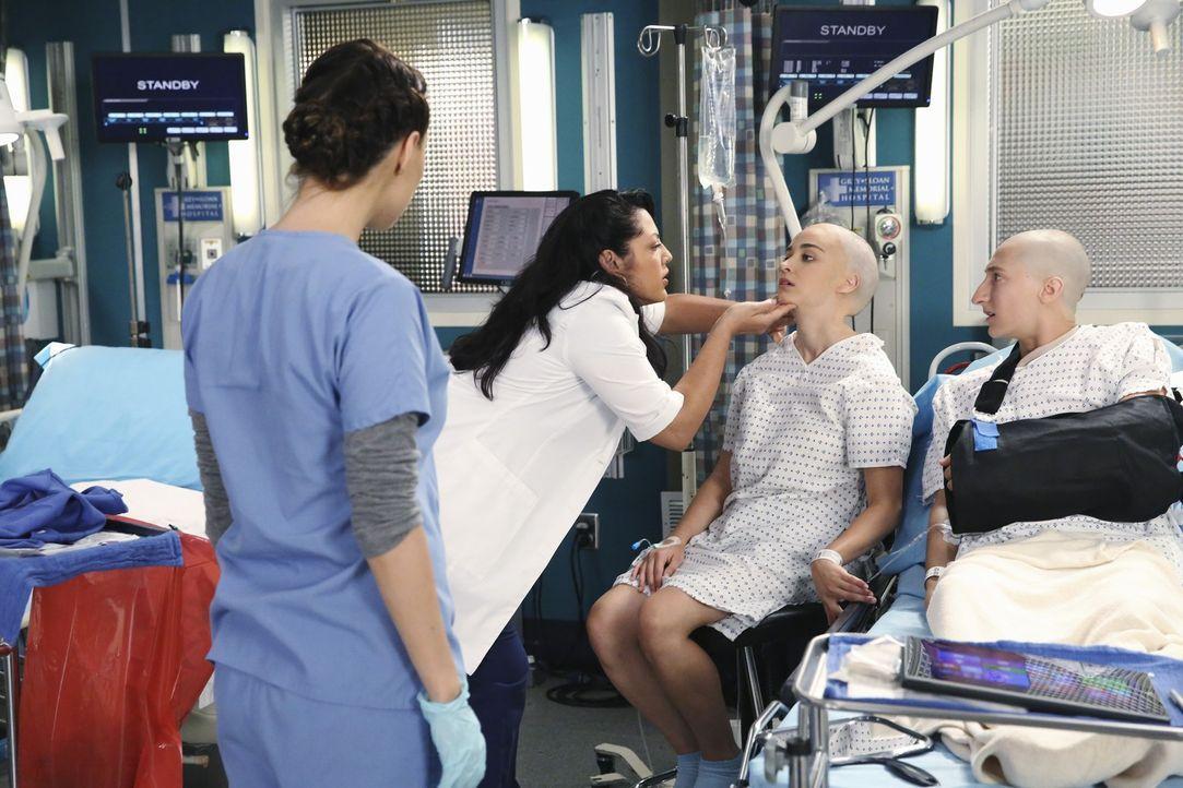 Schock: Monica (Liebe Barer, 2.v.r.), die Freundin des Krebspatienten Dave (Matthew Van Oss, r.), verfällt schlagartig in einen bewegungslosen Zusta... - Bildquelle: ABC Studios