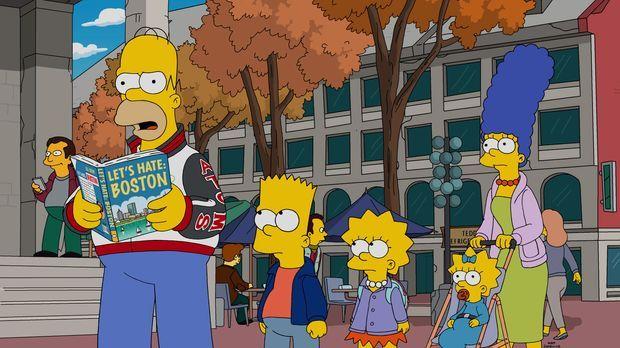 Homer (l.) ist fest davon überzeugt, dass Boston eine grausame Stadt sei. Nun...