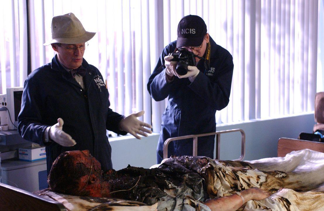 Im Navy-Krankenhaus stirbt ein Commander auf spektakuläre Weise, er explodiert von innen heraus. Ducky (David McCallum, l.) und Jimmy (Brian Dietze... - Bildquelle: CBS Television