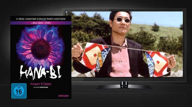 Hana-Bi - Feuerblume: Blu-ray Cover und Szene © Capelight Pictures