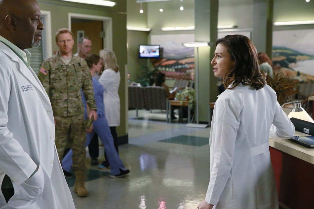 Jackson kann es nicht glauben: April und Owen (Kevin McKidd, M.) sind zurück, während sich Richard (James Pickens, Jr, l.) große Sorgen um Amelia (C... - Bildquelle: ABC Studios