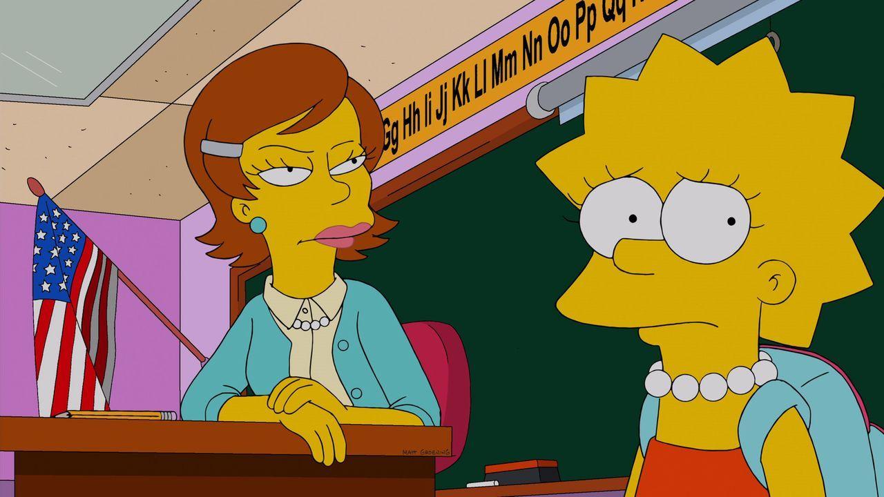 Lisa (r.) leidet in der Schule. Da Miss Hoover wegen einer schweren Depression vom Dienst befreit ist, erhält sie eine Vertretungslehrerin (l.), die... - Bildquelle: und TM Twentieth Century Fox Film Corporation - Alle Rechte vorbehalten
