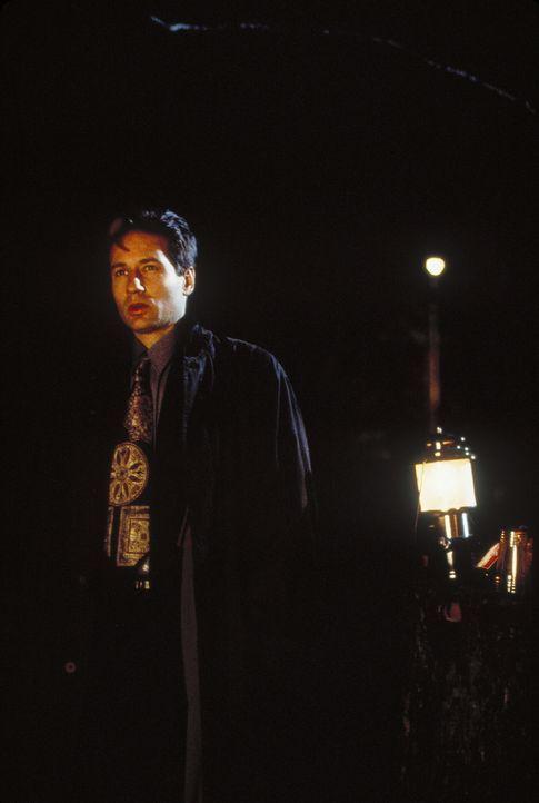 Mulder (David Duchovny) beweist mit zwei zeitgleich gestarteten Stoppuhren, dass am untersuchten Ort tatsächlich Außerirdische aufgetreten sein müss... - Bildquelle: TM +   Twentieth Century Fox Film Corporation. All Rights Reserved.