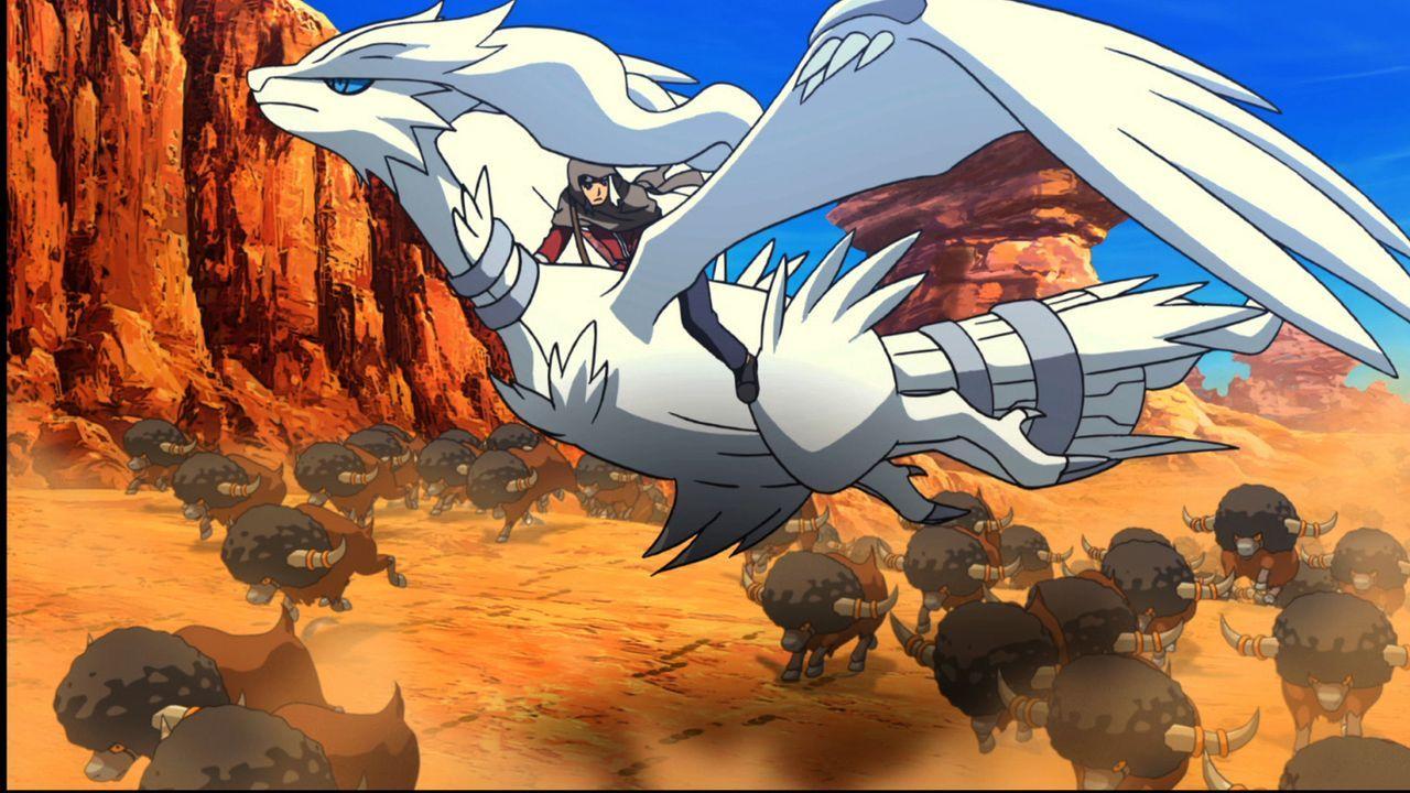 Um dem Königreich des Tieflandes wieder die alte Stärke zurückzugeben, versuchen Damon (oben) und Reshiram (unten) das mächtige Pokémon Victini einz... - Bildquelle: 2014 Pokémon.   1997-2014 Nintendo, Creatures, GAME FREAK, TV Tokyo, ShoPro, JR Kikaku. TM, ® Nintendo.