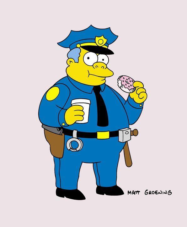 (13. Staffel) - Auch Chief Wiggum, Polizeichef in Springfield, ist ein Donut-Fan. - Bildquelle: und TM Twentieth Century Fox Film Corporation - Alle Rechte vorbehalten