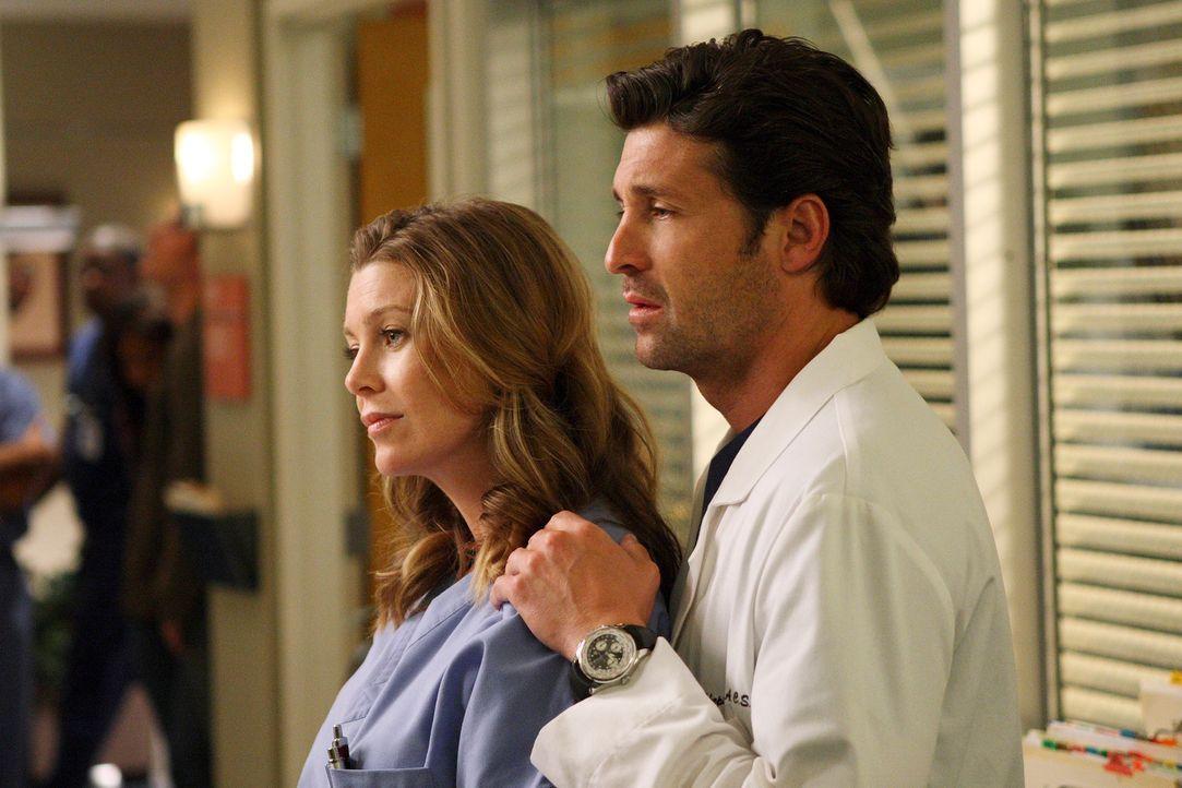 Nach Richards Ankündigung der Fusion mit dem Mercy West geht die Angst um: Meredith (Ellen Pompeo, l.) und Derek (Patrick Dempsey, r.) ... - Bildquelle: Touchstone Television