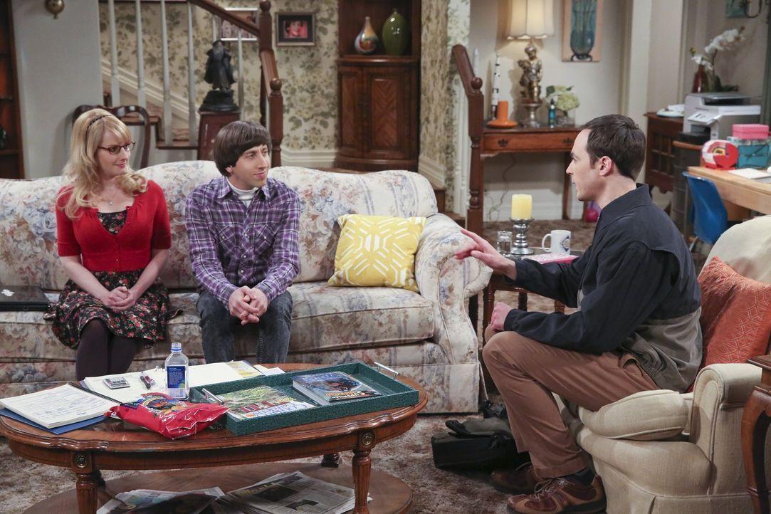 Sheldon (Jim Parsons, r.) versucht sich bei Howard (Simon Helberg, M.), Bernadette (Melissa Rauch, l.) und dem Rest seiner Freunde zu entschuldigen,... - Bildquelle: 2015 Warner Brothers