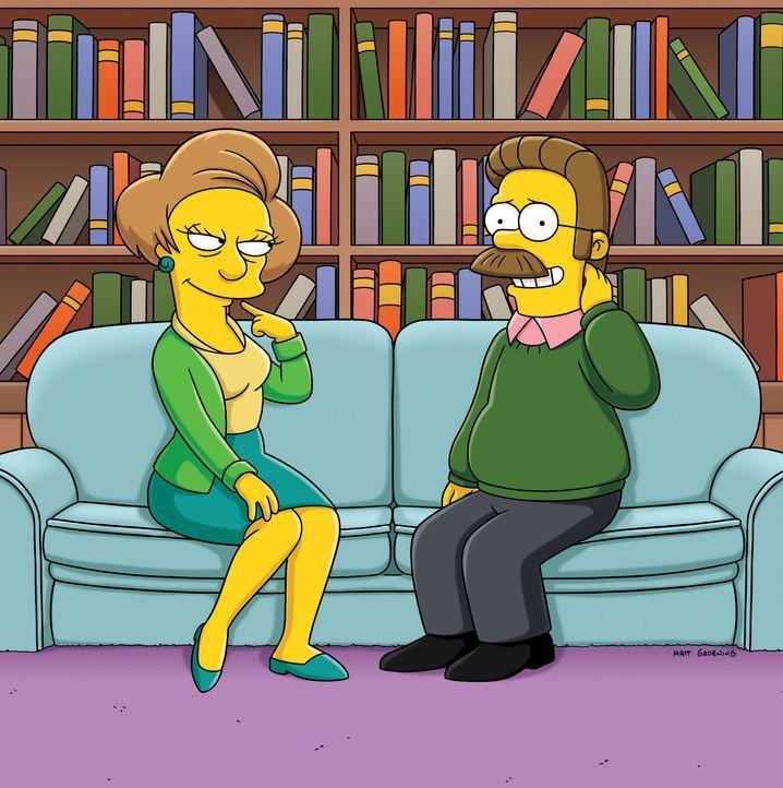 Es entwickelt sich eine leidenschaftliche Affäre zwischen den beiden, über die bald ganz Springfield spricht. Ned Flanders (r.) und Edna Krabappel... - Bildquelle: und TM Twentieth Century Fox Film Corporation - Alle Rechte vorbehalten