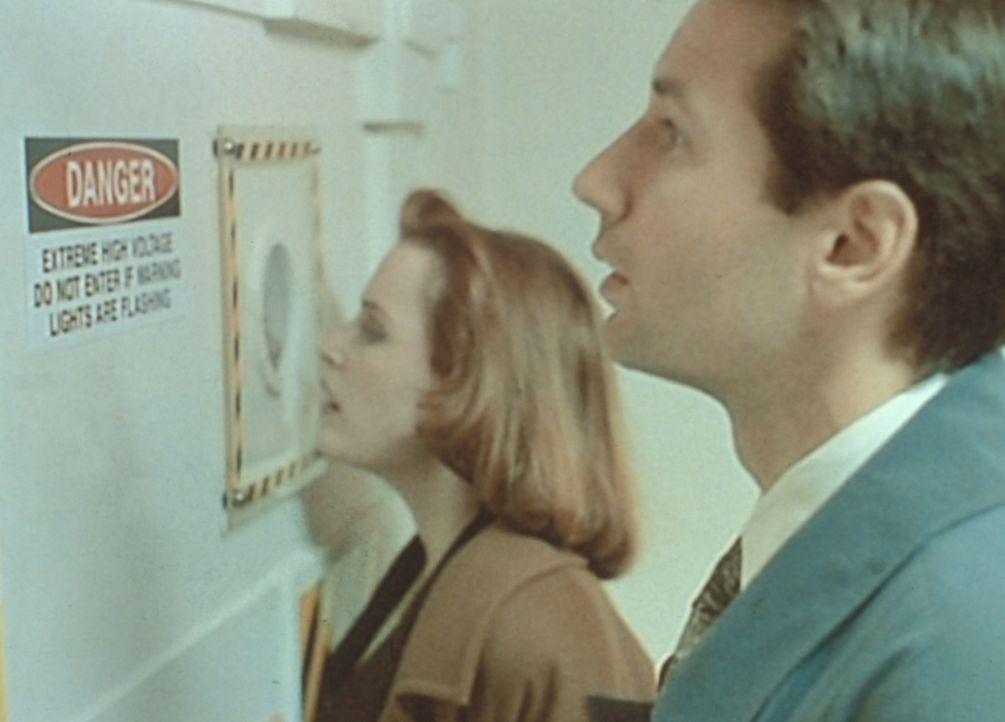 Ein Teilchenbeschleuniger scheint die Lösung für das Rätsel zu sein. Scully (Gillian Anderson, l.) und Mulder (David Duchovny, r.) nehmen das Gerät... - Bildquelle: TM +   Twentieth Century Fox Film Corporation. All Rights Reserved.